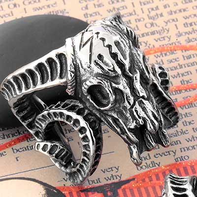 Steel Ram Skull Ring