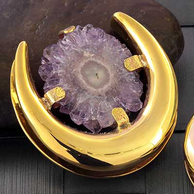Brass Saddles with Amethyst Stalactite