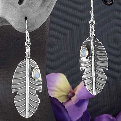 Silver Feather Earrings with Rainbow Moonstone