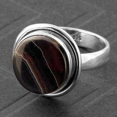 Silver and Banded Agate Ring