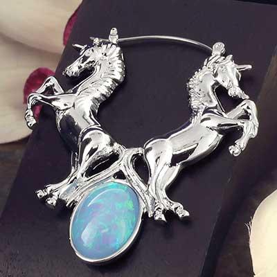 Synthetic Opal Unicorn Hoop Earrings