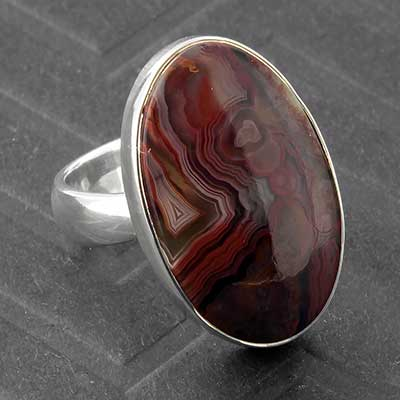 Silver and Crazy Lace Agate Ring
