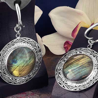 White Brass and Labradorite Medallion Weights