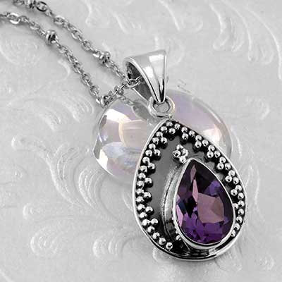 Beaded Amethyst Teardrop and Silver Necklace