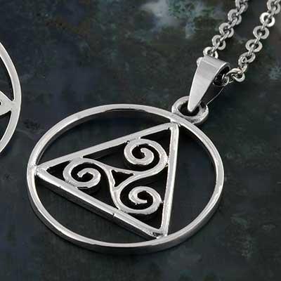 Silver Celtic Triskele Triangle Necklace