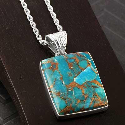 Silver and Bronze Blue Boulder Pendant Necklace