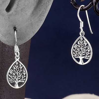 Silver Teardrop Tree Earrings