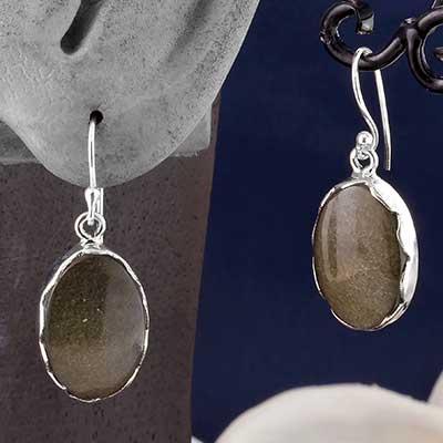 Silver and Golden Obsidian Earrings