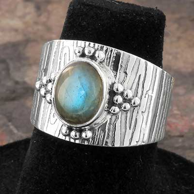 Silver and Beaded Labradorite Ring