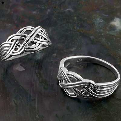 Silver and Celtic Knot Band Ring
