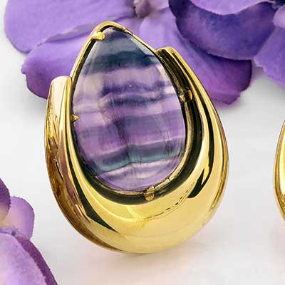 Brass Saddles with Fluorite