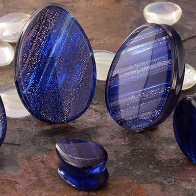 Glass Metallic Shimmer Teardrop Plugs