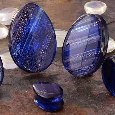 Glass Metallic Shimmer Teardrop Plugs