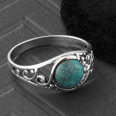 Silver and Turquoise Decor Ring