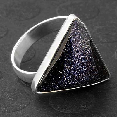 Silver and Faceted Blue Goldstone Ring