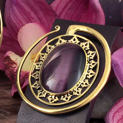 Solid Brass Oval Puj Ju Hoops with Cat Eye
