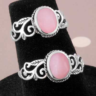 Silver and Ornate Pink Shell Ring