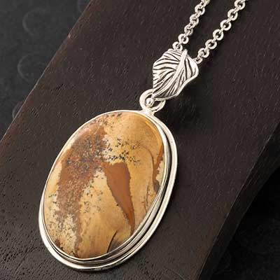 Silver and Picture Jasper Pendant Necklace