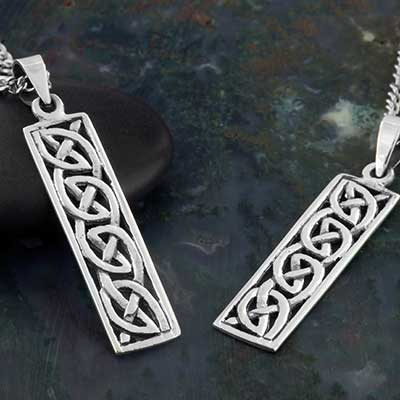 Silver Celtic Rectangle Necklace