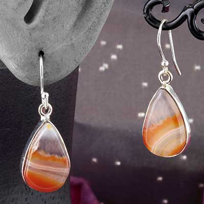 Silver and Orange Agate Earrings