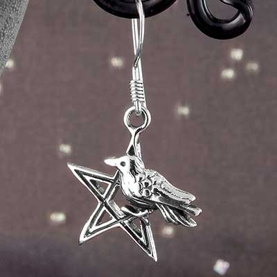 Silver Pentagram with Crow Earrings