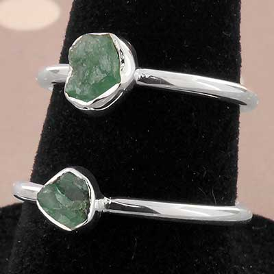 Silver and Rough Emerald Ring
