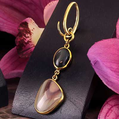 Solid Brass and Rainbow Obsidian with Imperial Jasper Weights