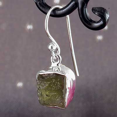 Silver and Moldavite Earrings