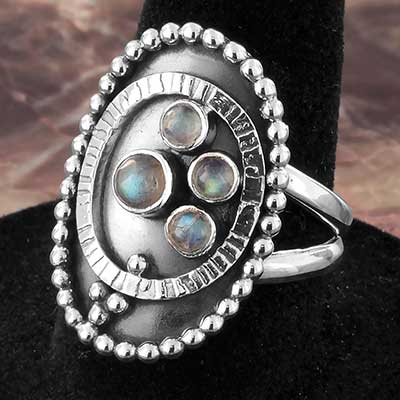 Silver and Beaded Labradorite Shield Ring