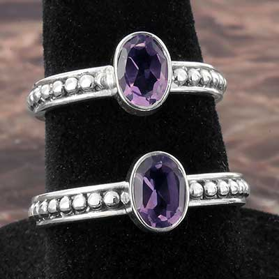Silver Beaded Band and Amethyst Gemstone Ring