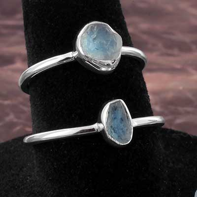 Silver and Rough Aquamarine Ring