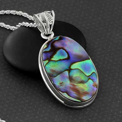 Abalone Shell and Silver Necklace