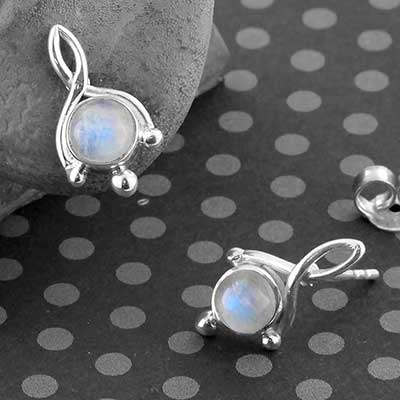 Silver and Rainbow Moonstone Twist Earrings