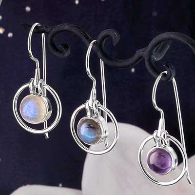Silver and Stone Orbital Earrings