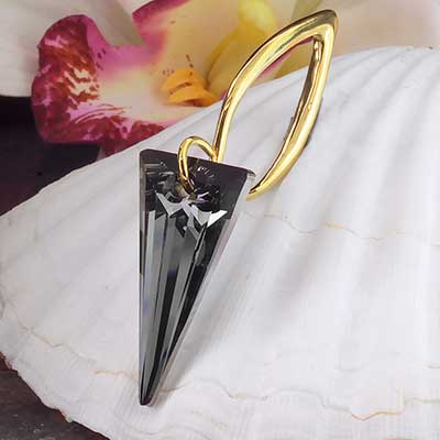 Black Diamond Swarovski Crystal Design with Brass Hooks