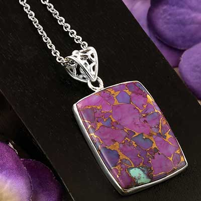 Silver and Purple Bronze Boulder Pendant Necklace