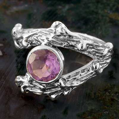 Silver and Amethyst Branch  Ring