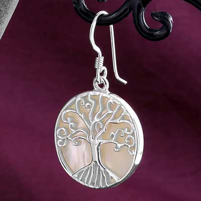 Silver and Mother of Pearl Tree Earrings