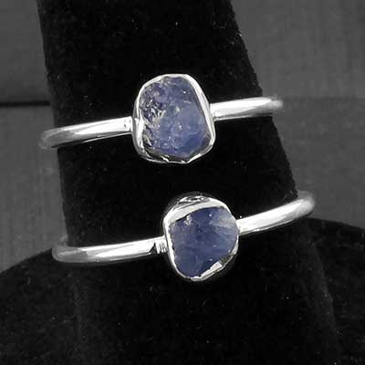Silver and Rough Blue Sapphire Ring