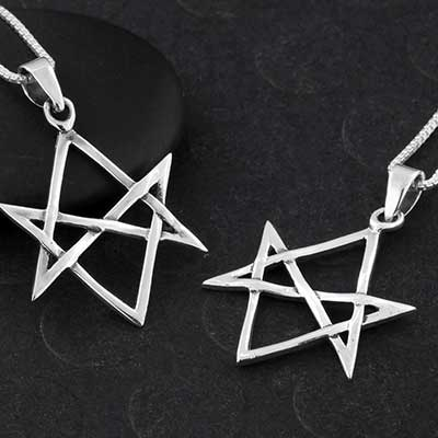 Silver Unicursal Hexagram Necklace