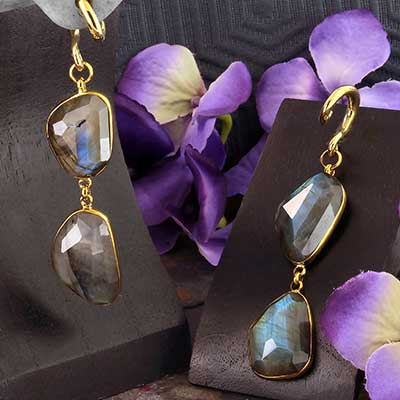 Solid Brass and Free Form Labradorite Dangle Weights