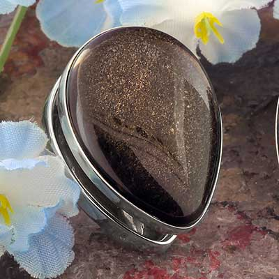 White Brass Spade Weights with Golden Obsidian