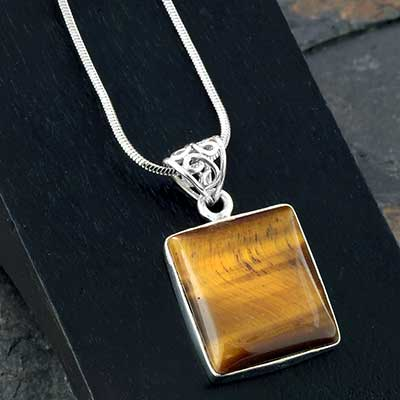 Silver and Yellow Tiger Eye Pendant Necklace