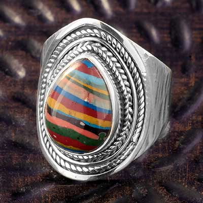 Silver and Rainbow Calsillica Ring