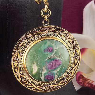 Solid Brass and Ruby Fuchsite Medallion Weights
