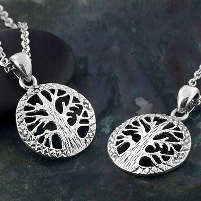Silver Textured Tree Necklace
