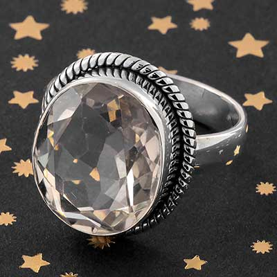 Silver and Crystal Quartz Ring