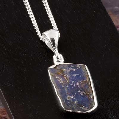 Rough Labradorite and Silver Necklace