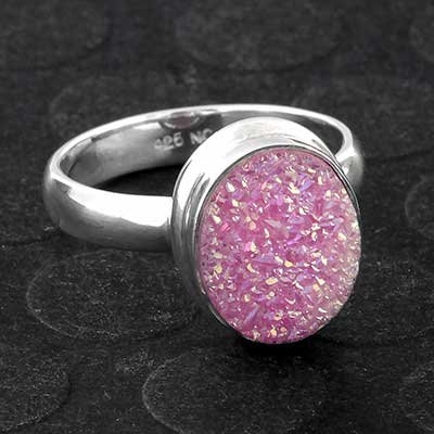 Silver and Pink Druzy Ring