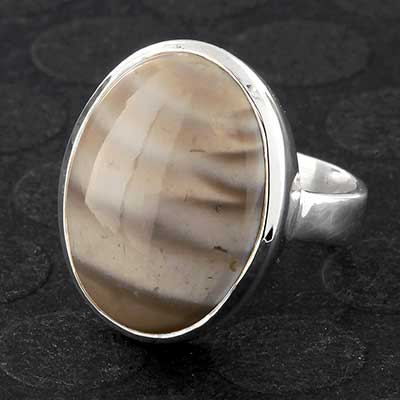Silver and Flint Stone Ring